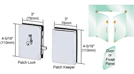 Patch Lock Keeper (C.R. LAURENCE EUR681BS CRL Brushed Stainless EUR Series Center Housed Patch Lock)
