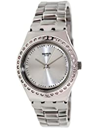 Swatch YLS172G Women's Pure Powder Silver Dial Adjustable Steel Bracelet Watch