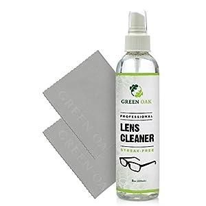 Lens Cleaner Spray Kit – Green Oak Professional Lens Cleaner Spray with Microfiber Cloths – Best for Eyeglasses, Cameras, and Lenses - Safely Cleans Fingerprints, Bacteria, Dust, Oil (8oz)