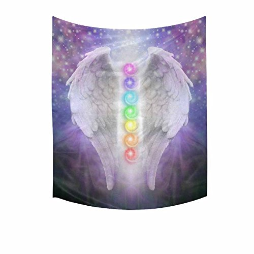 InterestPrint Hippie Angel Wings Chakras Darkness and Light Tapestries Home Decor, Cotton Linen Tapestry Wall Hanging Decorative Tapestry, 51W X 60L inch