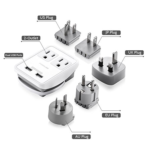 Poweradd [UL Listed] 2-Outlet International Travel Charger Power AC Adapter with Worldwide UK/US/AU/EU/JP Plugs + Dual Smart USB Ports for Business Trip