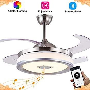 Retractable Ceiling Fan With Light And Bluetooth Speaker