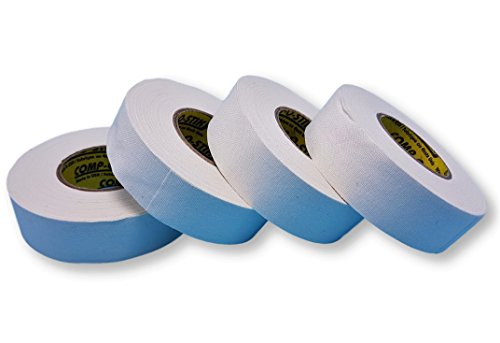 White Hockey Tape for Hockey Sticks – (Pro Grade) 1 Inch Wide, 20 Yards Long (Cloth) Made in USA (4 Pack)