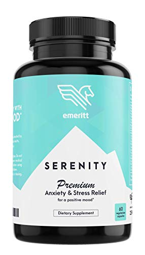 Serenity Premium Anti Anxiety and Stress Relief Supplement | 60 Herbal Caps with Ashwagandha, Rhodiola, L-theanine, B-Complex, 5-HTP, D3 for Mood Boost, Soothing Calm and a Relaxed Mind | Made in USA (Best Anti Stress Pills)