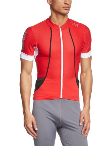 Gore Bike Wear Men's Oxygen Soft Shell Jersey, Red/White, Small