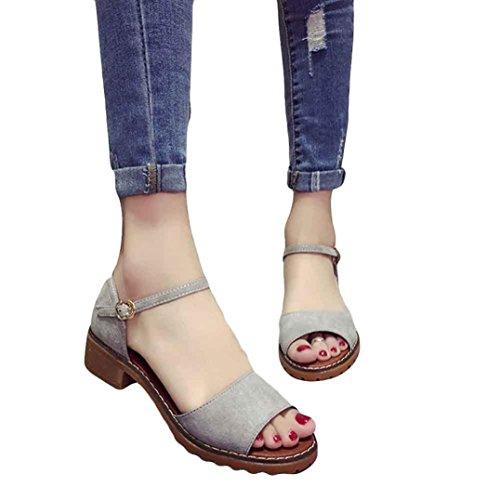 Binggong Sandalen Schuhe Farbe Flip Frauen Fischmund Ledersandalen Lady Flops Reine Sandalen Grau Bequeme Sandalen Strand Sommer flache Student Sandalen Damen süße qrqx5w1f
