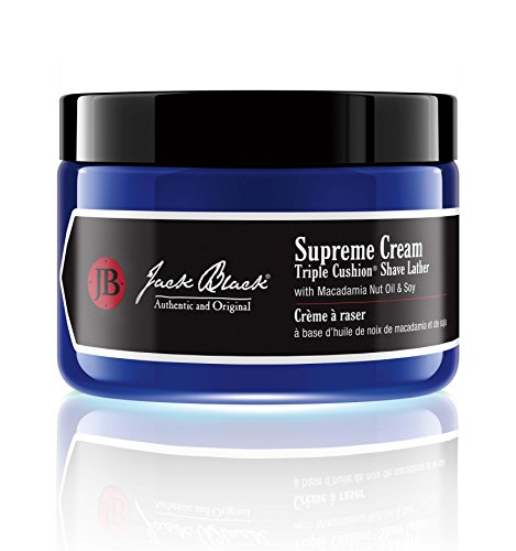 JACK BLACK – Supreme Cream Triple Cushion Shave Lather – PureScience Formula, Macadamia Nut Oil and Soy, Luxurious Shaving Cream, Hydrates Skin, Reduced Razor Burn, 3 and 6 oz.