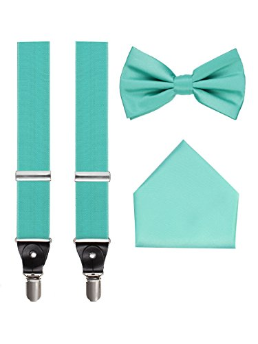 Suspenders, Bow Tie and Pocket Hanky Set - Turquoise -