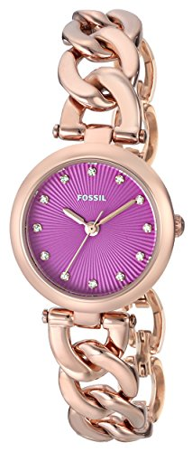 Fossil Women's ES3574 Olive Three Hand Stainless Steel Watch - Rose Gold-Tone with Pink Dial