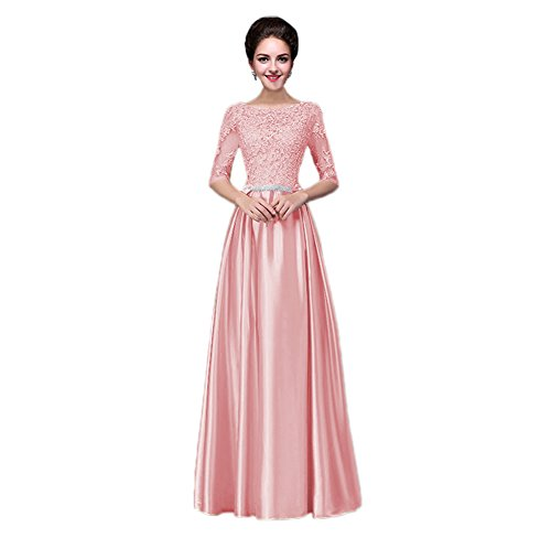 Vimans Womens Long Pink Lace Summer Beach Evening Dresses with Lace and Beads, 2