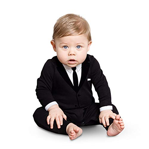 Baby Tuxedo Pajamas (The Tiny Universe Baby Boy Onesie Dress Suit & Tie - 100% Cotton Romper, Formal (All Black, 6-9 Months)