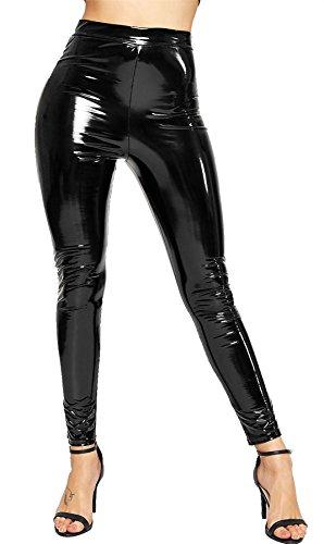 Pants Vinyl (Rimi Hanger Ladies Vinyl Shiny Wet Look Disco Legging Womens High Waist Party Wear Pants Black Large)