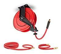 TEKTON 46875 50-Foot by 3/8-Inch I.D. Air Hose Reel, 10-Foot Rubber Lead-In, and 3-Foot Rubber Whip Air Hose (250 PSI)