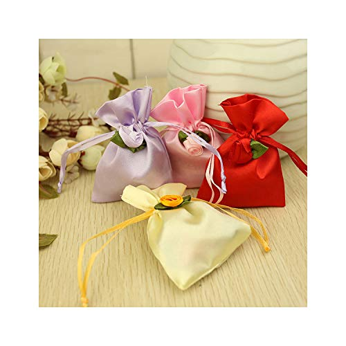 (Small Size Jewelry Bags 50pcs/lot 4 Colors Drawstring Flower Dotted Jewelry Organizer Pouch Satin Christmas Wedding Gift Bag,Light Pule)