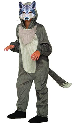 Forum Novelties Party Supplies 80959 Wolf Jumpsuit And Mask Child's Costume, Medium, Multi, Multicolor ()