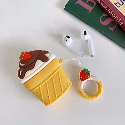 AKXOMY AirPods Case, Ice Cream airpods case, Super Cute Icecream Creative Food Drink Shape TPU Silicone Cover Protective Skin for Apple AirPods 1&2