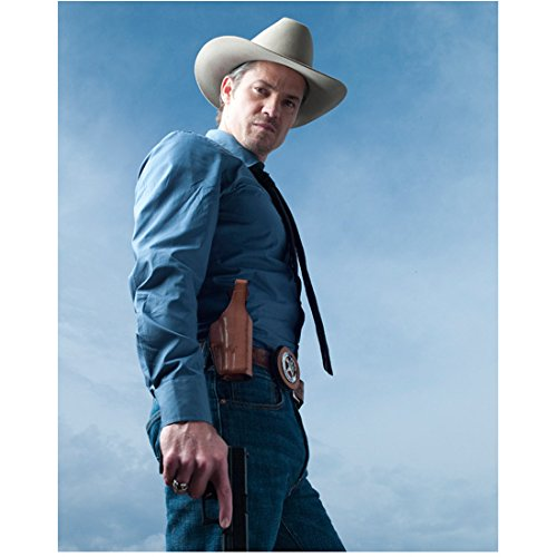 Justified Timothy Olyphant as Raylan in Cowboy Hat and Jeanss Holding Gun Angled Shot Sky Background 8 x 10 inch photo (On Banshee Sky)