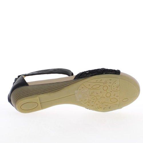 Nu-Pieds grande taille noirs avec talon compensé de 4cm
