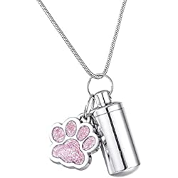Valyria Pink Pet Puppy Dog Paw Charm & Small Cylinder Memorial Urn Necklace Keychain Stainless Steel Cremation Jewelry for Ashes