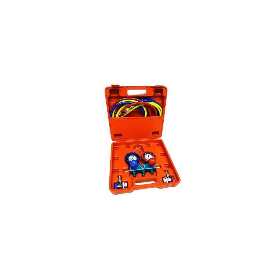 R134a R12 R22 AC A/C Manifold Gauge Set 6FT Colored Hose Air Conditioner Freon