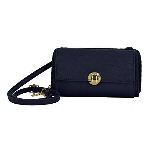 ESA Mini Crossbody Bag for Women Vegan Leather Zip Around Pratical Phone Wallet RFID Blocking Detachable Strap (Navy) ()