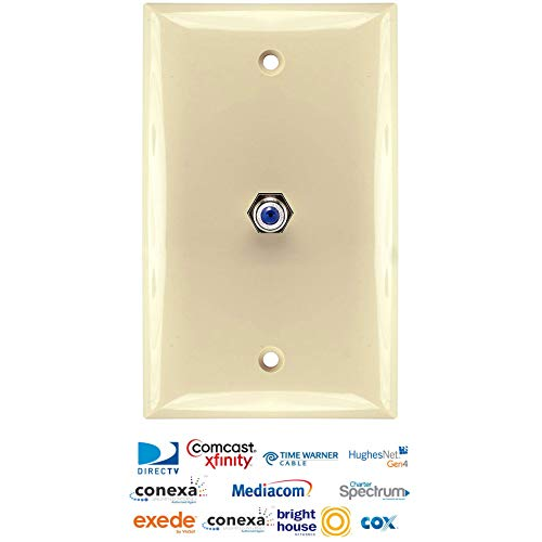 - PPC WP1HPI Single Coax Cable Wall Plate - Ivory 3 GHz F Connector - Made in New York & Approved by US Cable Companies