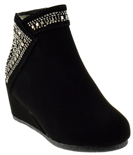 Forever Link Norita 71K Girls Wedge Rhinestone Ankle Booties Black 1