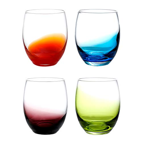 Colored Water Glasses Hand Made Glass Tumblers Set,14 OZ of 4 Colors Set