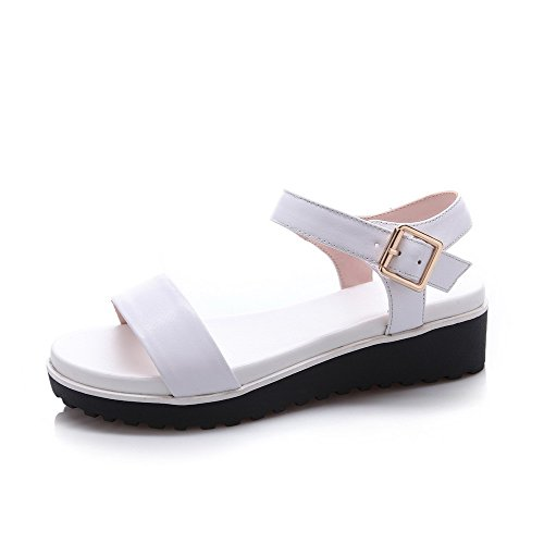 AllhqFashion Womens Round Open Toe Solid Cow Leather Kitten Heels Sandals with Non-Slipping Sole White 8JWGWQTk1