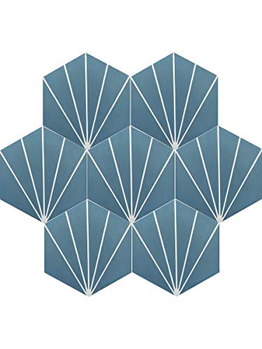 Moroccan Mosaic & Tile House CTP72-06 Menara Handmade Cement Tile 8''x9'' Navy Blue and White by Moroccan Mosaic & Tile House (Image #1)