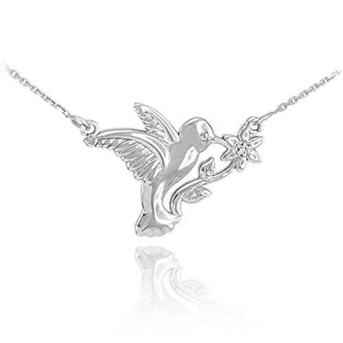 14 ct 585/1000 Or Blanc Avec Diamant-Kolibri-Fleur-Collier