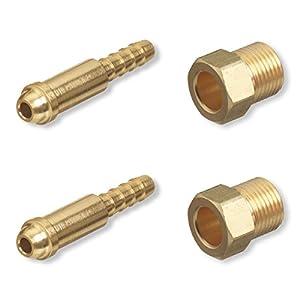 Argon Nut & Nipple x 1/4″ Hose Barb, Mig Tig Welding Fitting Inert Gas, 2 Sets