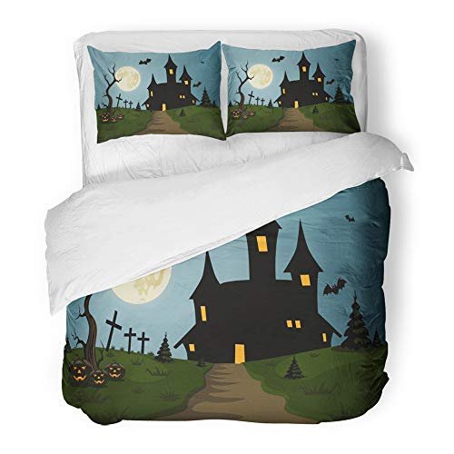 Emvency Decor Duvet Cover Set Full/Queen Size Blue Hallowen Scary Halloween Scene Castle and Full Moon Clipart 3 Piece Brushed Microfiber Fabric Print Bedding Set -