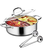 Hot Pot met scheidingswand, Shabu Shabu Hot Pot roestvrij staal met scheidingswand en deksel keukenkookgerei kookpannen