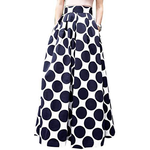 - Fashion Party Cocktail Summer Women Dot Printed Skirt High Waist Long Skirt Navy