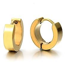 Pair of Gold Huggie Hinged Hoop Earrings Unisex Men Women Boy Kids