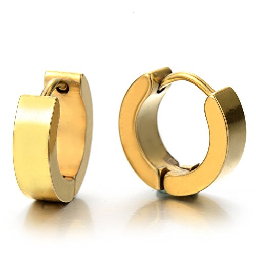 Pair of Gold Huggie Hinged Hoop Earrings Unisex Men Women Boy Kids