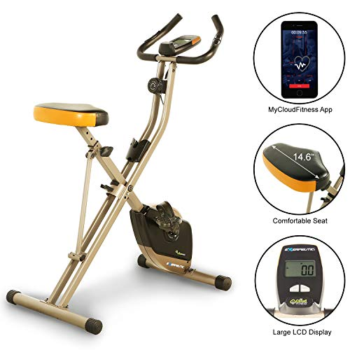 Exerpeutic Folding Heavy Duty 300 lbs. Weight Capacity Magnetic Upright Exercise Bike with Optional Bluetooth (Best Stationary Bike Under 300)