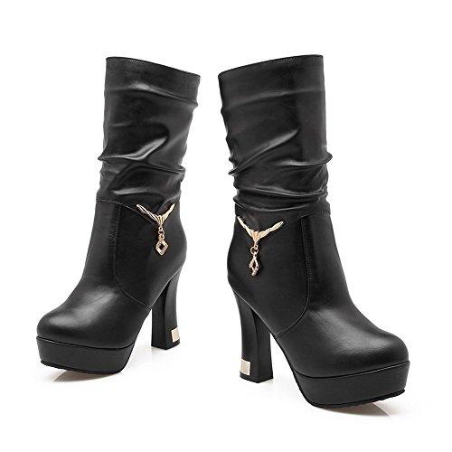 Mid Round Heels Allhqfashion Pull On Boots Toe Closed High Top Women's Black r0nq8q7wxt
