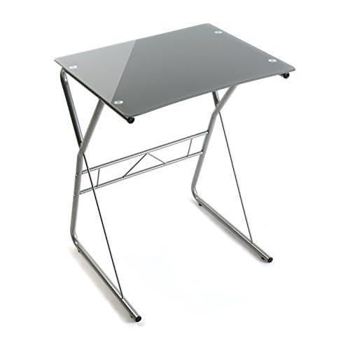 chollos oferta descuentos barato Versa 10330082 Mesa de Ordenador o Escritorio Leipzig Cristal Gris 75 x 47 5 x 60 cm