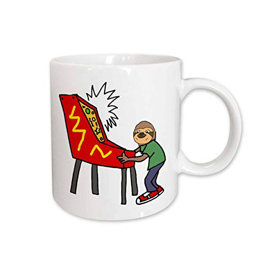 3dRose All Smiles Art Sports and Hobbies - Funny Sloth Playing Pinball Game Cartoon - 15oz Mug (mug_288047_2)