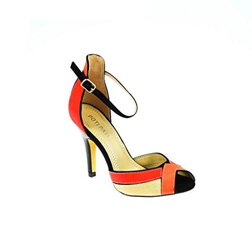 Poti Pati Damen Pumps Leder Schwarz Rot Beige, Schuhgröße:36