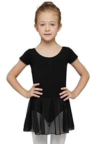 Girls' Dance Leotard Ruffle Short Sleeve by Mdnmd ,Black,(Tag 120) Age 4-6