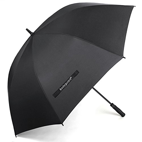 Canopy Windproof Umbrella (Bodyguard 60 Inch Automatic Open Golf Umbrella - Extra Large Canopy Umbrella 210T Dupont Teflon Coated Super Windproof and Waterproof Umbrella - Black)
