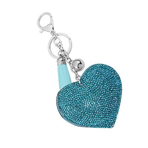 NATFUR Rhinestone Butterfly/Heart Pendant Keyring Key Chain Fobs Elegant Novelty Key-Chain for Women Cute for Men Beautiful   Type - Heart - Blue ()