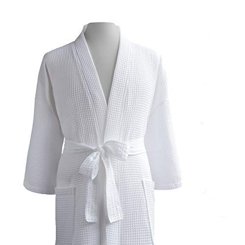 Luxor Linens LUXA House - Waffle Bathrobe - 100% Egyptian Cotton - Unisex/One Size Fits Most - White - One Size Fits Most