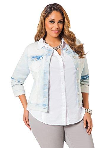 0caa6c0d31c Ashley Stewart Women s Plus Size Collarless Denim Jacket - Size  14 ...