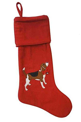 - Beagle Dog Applique Jingle Bell Red 23 Inch Plush Acrylic Christmas Stocking