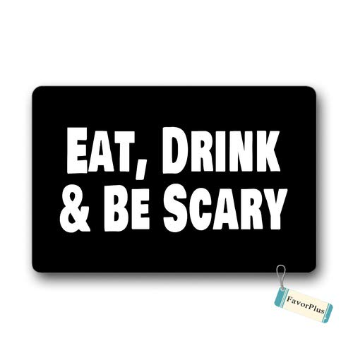 Doormat Eat Drink & Be Scary - Halloween Outdoor/Indoor Non Slip Decor Funny Floor Door Mat Area Rug for Entrance 18x30 inch -