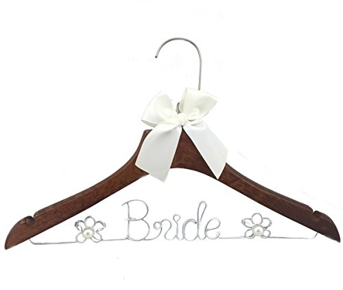 Wood Wedding Hanger Bridal Dress Hanger with Pearl Gifts (Bride)